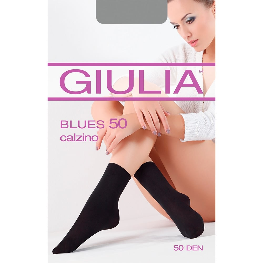 картинка Giulia Blues 50 calzino 3D microfibre opaque ankle highs от магазина Missstockings.ru