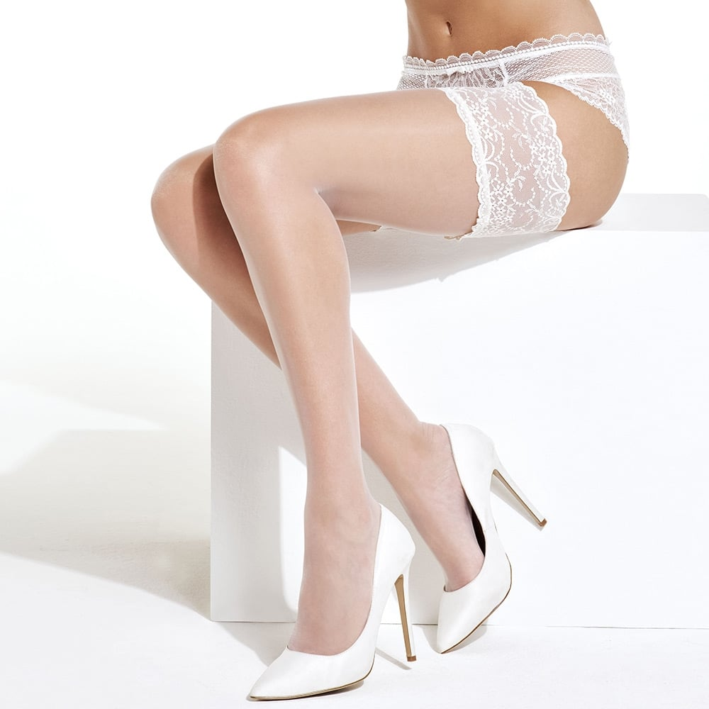 картинка Charnos Bridal hold-ups with deep lace top band от магазина Missstockings.ru